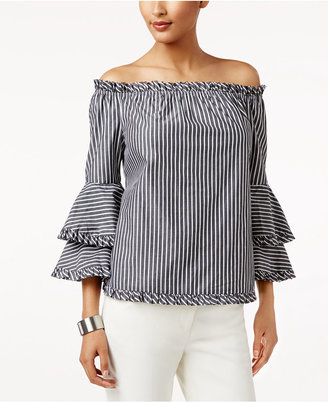 Eci Ruffled Off-The-Shoulder Top $60 thestylecure.com