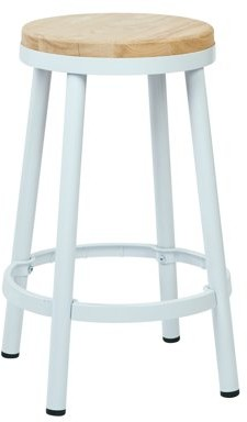 """Office Star OSP Designs by Products Bristow 26"""" Metal Backless Barstool, White Frame"""