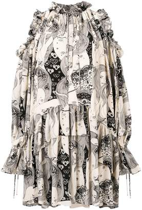 Alexander McQueen ruffled-trimmed cold-shoulder dress