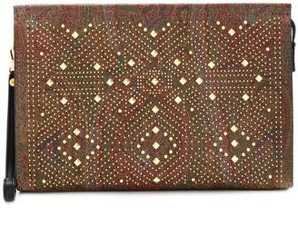 Etro gold-tone studded paisley print clutch