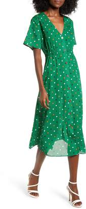 ALL IN FAVOR Dot Button Front Midi Dress