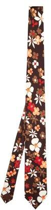 Prada Floral Print Silk Twill Tie - Mens - Brown Multi