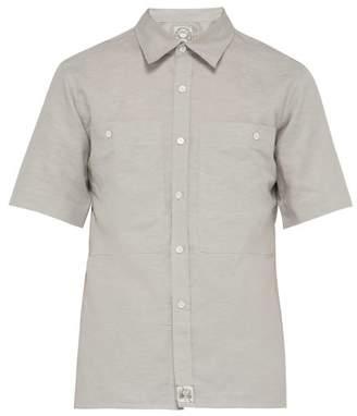 MAISON KITSUNÉ Short Sleeved Cotton Blend Shirt - Mens - Light Grey
