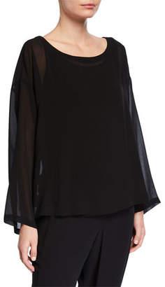 Eileen Fisher Ballet-Neck Long-Sleeve Sheer Silk Boxy Top