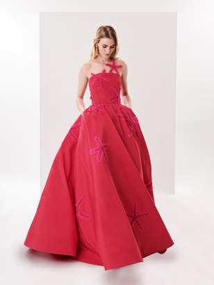 Oscar de la Renta Starfish Embroidered Silk-Faille Illusion-Neck Gown