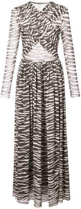 Ganni sheer zebra print dress