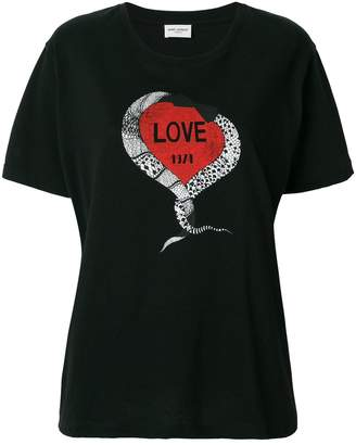 Saint Laurent Snake Love Heart T-Shirt