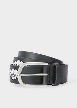 Paul Smith Men's Black Embroidered Cloud Pattern Leather Belt