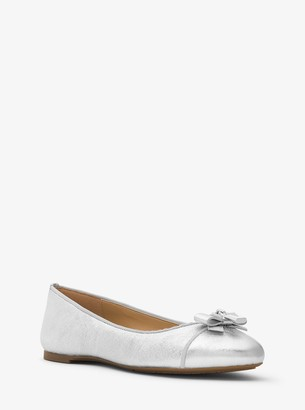 MICHAEL Michael Kors Alice Crackled Metallic Leather Ballet Flat