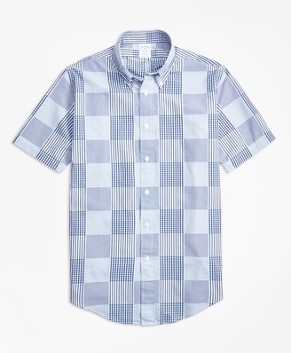 Brooks Brothers Regent Fit Dobby Patchwork Short-Sleeve Sport Shirt