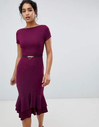 Paper Dolls cap sleeve pencil dress with ruffle hem and belt in berry