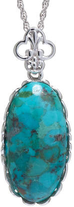 JCPenney FINE JEWELRY Enhanced Turquoise Sterling Silver Scalloped Pendant Necklace