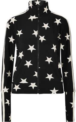 Norma Kamali Printed Stretch-jersey Track Jacket - Black