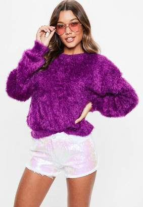 Missguided Purple Dolam Eyelash Sweater