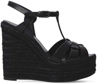 Saint Laurent 130mm Tribute Leather Wedge Sandals