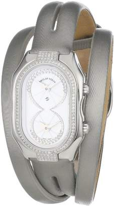 Philip Stein Teslar Women's 14DP-IDW-IPLDW Prestige Pave Diamond Platinum Double Wrap Silk Calf Strap Dress Watch