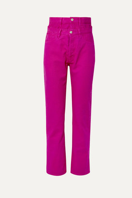 Aries Lilly Layered High-rise Straight-leg Jeans - Fuchsia