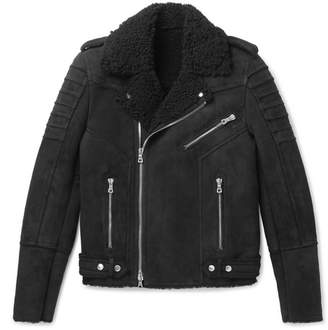 Balmain Slim-Fit Shearling Biker Jacket - Black
