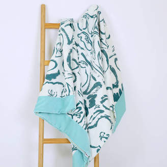 KATIE CHARLESON Screen Printed Rosehip And Poppy Throw