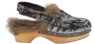 Mou Slingback Fur Wedge Sandals