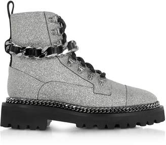 Balmain Chain And Glitter Leather Army Boots