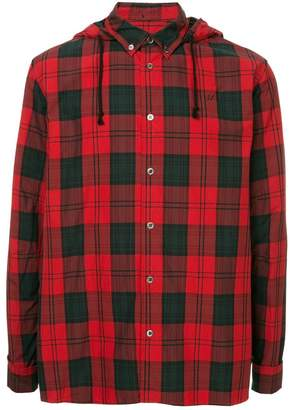 Undercover checked hooded shirt
