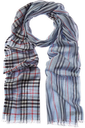 Burberry Vintage Check Icon Stripe Wool & Silk-Blend Scarf