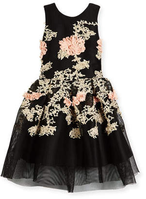 Zoe Mila Sleeveless Pleated Floral Mesh Dress, Black, Size 4-6 $280 thestylecure.com