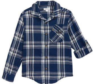 Flapdoodles Woven Button-Up Flannel Shirt