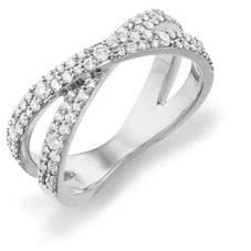Lana Mega Flawless 14k white Gold Crisscross Diamond Ring, Size 7