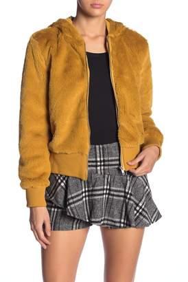Mustard Seed Hooded Faux Fur Jacket