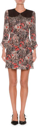 No.21 No. 21 Jewel-Neck Ruched-Sleeve Floral-Print Silk Mini Dress w/ Cutout Back