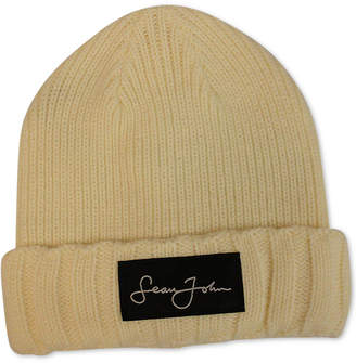 Sean John Men's Woven Label Double Roll Cuff Beanie