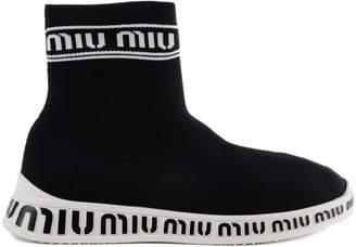 Miu Miu Sock Logo Ankle Boots