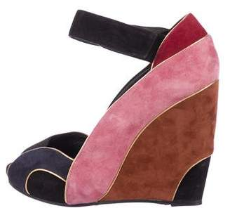 Pierre Hardy Suede Peep-Toe Wedges