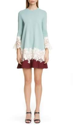 Valentino Lace Applique Colorblock Sweater Shift Dress