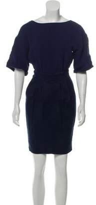 Burberry Short Sleeve Knee-Length Dress Navy Short Sleeve Knee-Length Dress