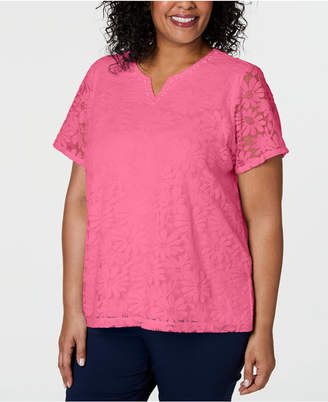 79f493f402 Alfred Dunner Plus Size Classic Floral Lace Top