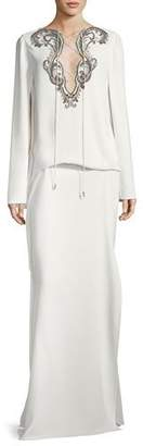 Roberto Cavalli Cape-Sleeve Tie-Neck Beaded Kaftan Evening Gown