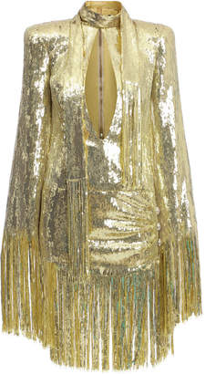 0d2462dc0e06 Balmain Fringed Sequined Necktie Mini Dress
