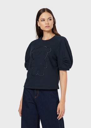 Emporio Armani Puff-Sleeved Sweatshirt With Manga Bear Embroidery