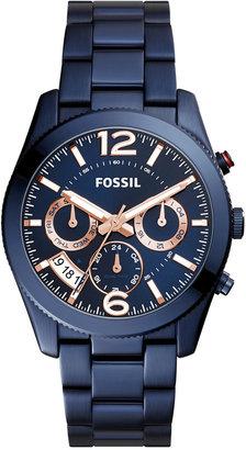 Fossil Women's Perfect Boyfriend Blue Stainless Steel Bracelet Watch 39mm ES4093 $165 thestylecure.com