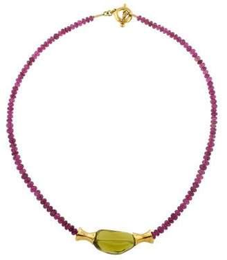 Robert Lee Morris 18K Quartz & Tourmaline Bead Necklace
