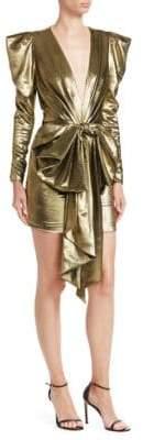 Alexandre Vauthier Big Bow V-Neck Mini Bodycon Dress