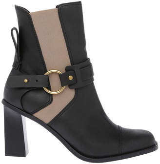 See by Chloe Black Calf with Nude Elastic Boot