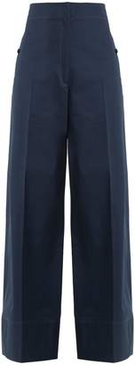 Lemaire High-rise wide-leg cotton-twill trousers