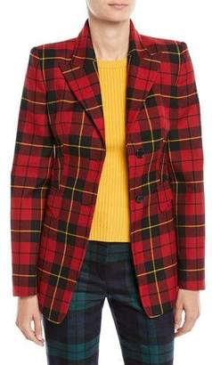 Michael Kors Two-Button Plaid Wool Blazer
