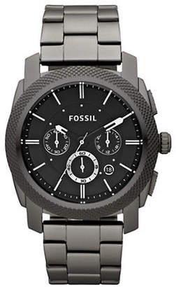 Fossil Mens Smoke Coloured Machine Chronograph Stainless Steel Watch