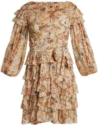Zimmermann Painted Heart floral-print ruffle-trim silk dress