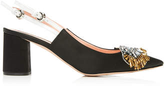 Rochas Two-Tone Bead-Embellished Suede Slingback Pumps